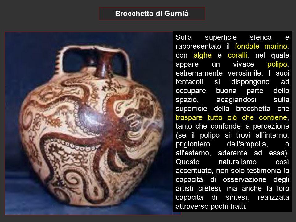 Brocchetta di Gurnià Sulla superficie sferica è rappresentato il fondale marino, con alghe e coralli, nel quale appare un vivace polipo, estremamente