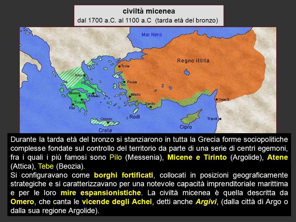civiltà micenea dal 1700 a.C. al 1100 a.C (tarda età del bronzo) Durante la tarda età del bronzo si stanziarono in tutta la Grecia forme sociopolitich