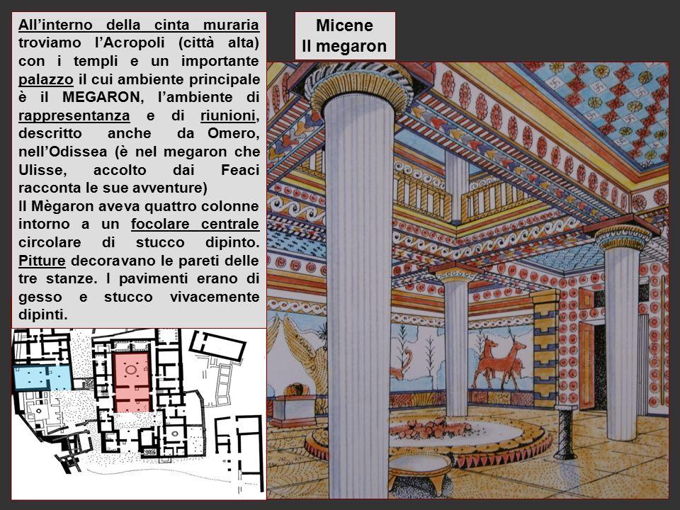 Micene Il megaron All'interno della cinta muraria troviamo l'Acropoli (città alta) con i templi e un importante palazzo il cui ambiente principale è i