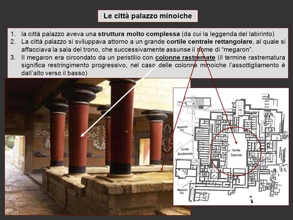1.la città palazzo aveva una struttura molto complessa (da cui la leggenda del labirinto) 2.La città palazzo si sviluppava attorno a un grande cortile