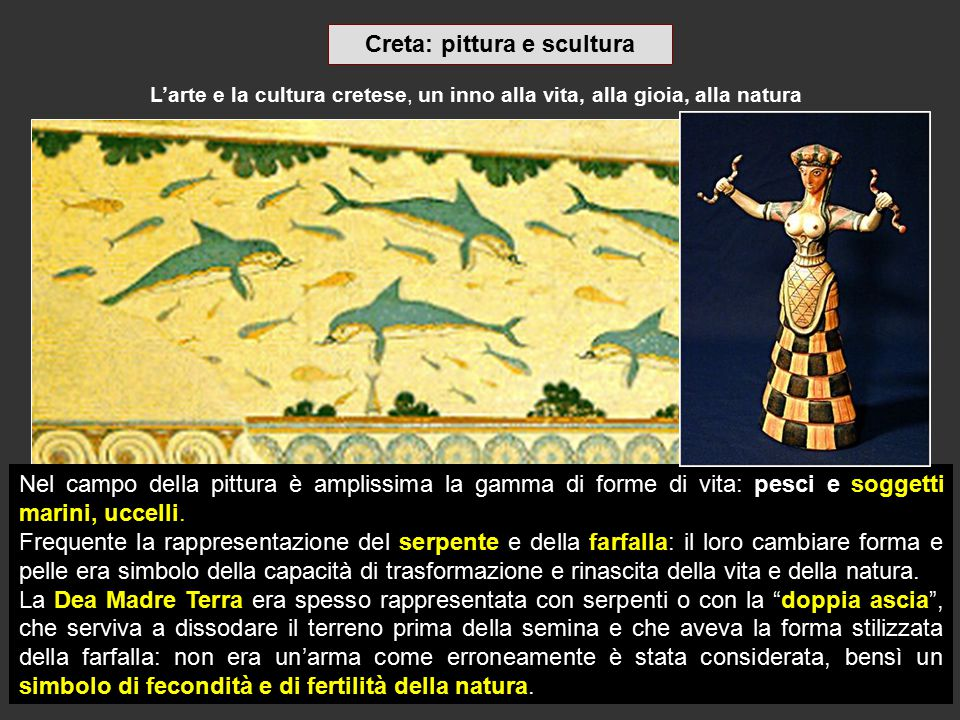 L'arte e la cultura cretese, un inno alla vita, alla gioia, alla natura Nel campo della pittura è amplissima la gamma di forme di vita: pesci e sogget