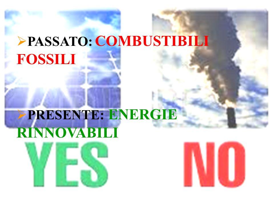  PASSATO: COMBUSTIBILI FOSSILI  PRESENTE: ENERGIE RINNOVABILI