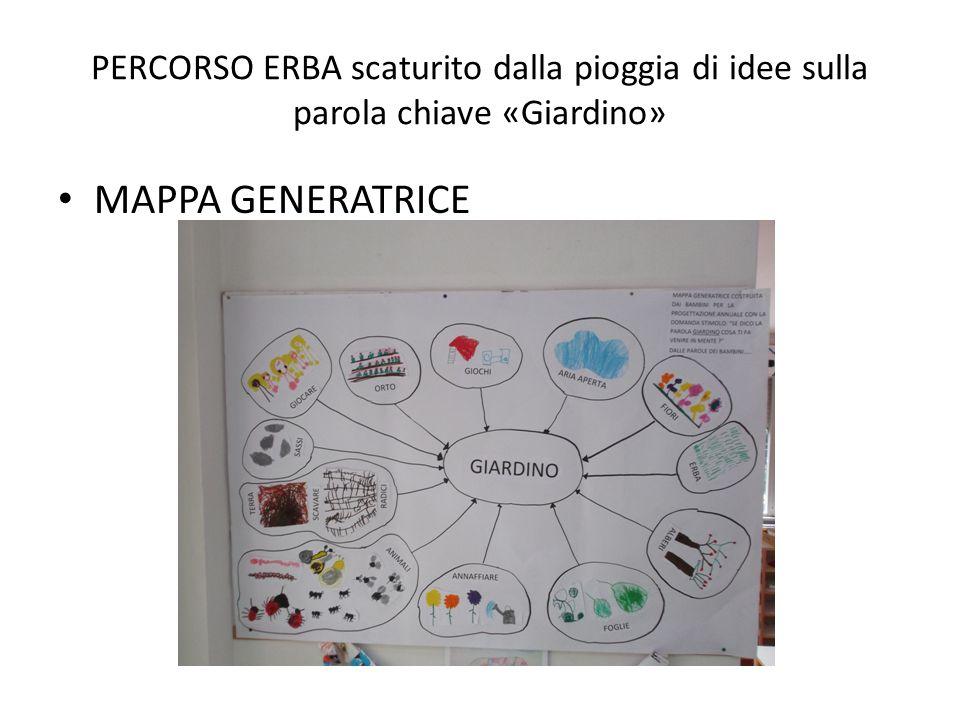 PERCORSO ERBA scaturito dalla pioggia di idee sulla parola chiave «Giardino» MAPPA GENERATRICE