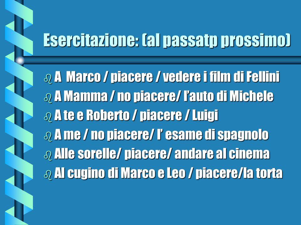 Esercitazione: (al passatp prossimo) b A Marco / piacere / vedere i film di Fellini b A Mamma / no piacere/ l'auto di Michele b A te e Roberto / piace
