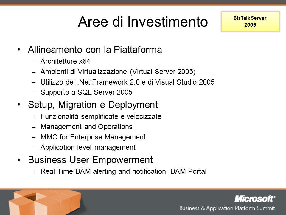 Aree di Investimento Allineamento con la Piattaforma –Architetture x64 –Ambienti di Virtualizzazione (Virtual Server 2005) –Utilizzo del.Net Framework
