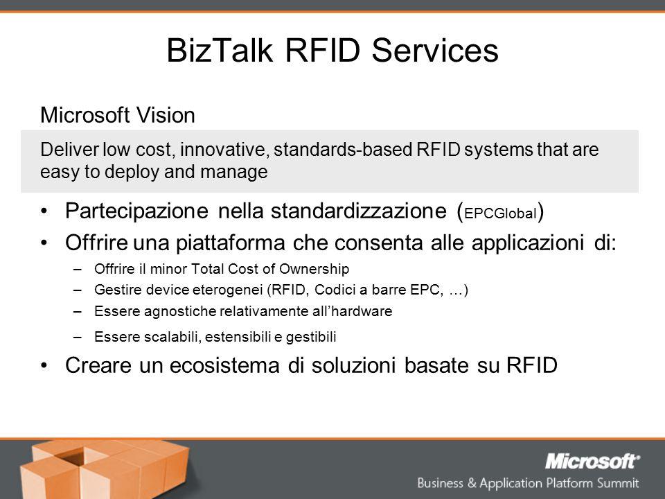 BizTalk RFID Services Microsoft Vision Partecipazione nella standardizzazione ( EPCGlobal ) Offrire una piattaforma che consenta alle applicazioni di: