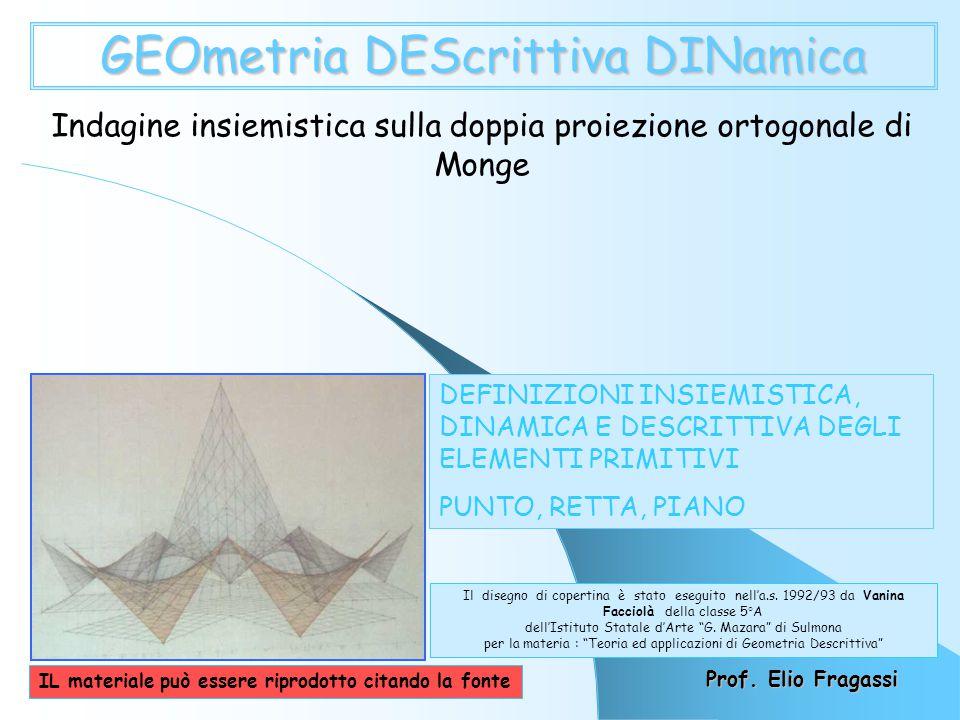 GEOmetria DEScrittiva DINamica Indagine insiemistica sulla doppia proiezione ortogonale di Monge DEFINIZIONI INSIEMISTICA, DINAMICA E DESCRITTIVA DEGLI ELEMENTI PRIMITIVI PUNTO, RETTA, PIANO Prof.