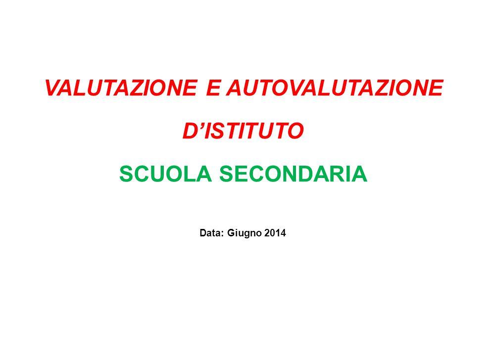 VALUTAZIONE E AUTOVALUTAZIONE D'ISTITUTO SCUOLA SECONDARIA Data: Giugno 2014