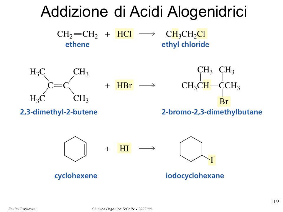 Emilio Tagliavini Chimica Organica TeCoRe - 2007/08 119 Addizione di Acidi Alogenidrici