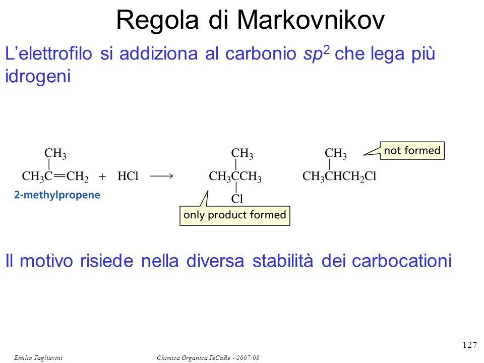 Emilio Tagliavini Chimica Organica TeCoRe - 2007/08 127 Regola di Markovnikov L'elettrofilo si addiziona al carbonio sp 2 che lega più idrogeni Il mot