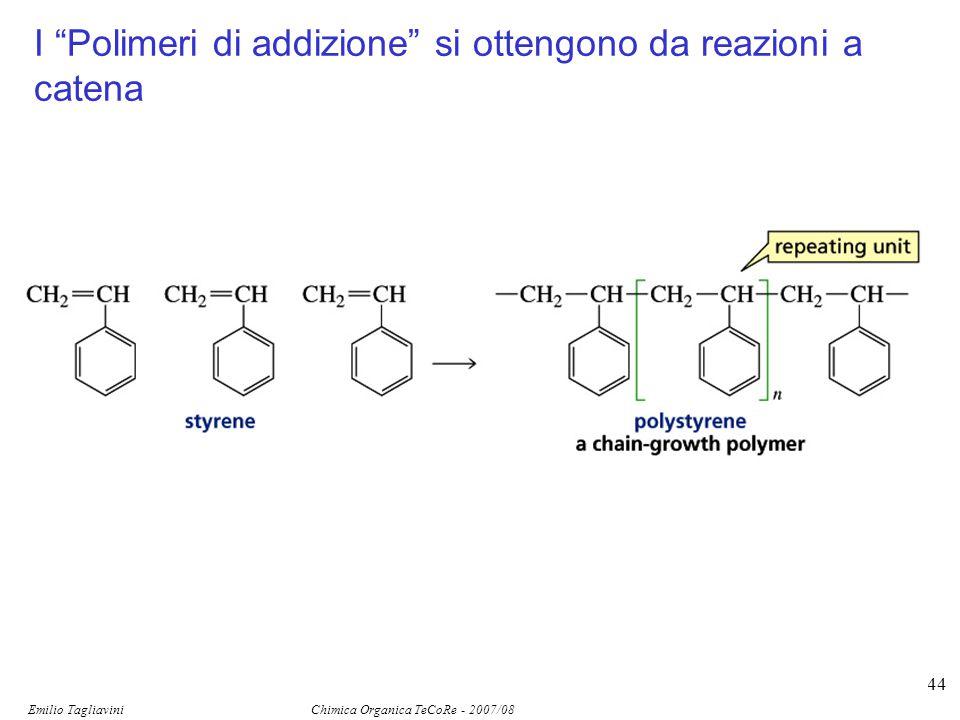 """Emilio Tagliavini Chimica Organica TeCoRe - 2007/08 144 I """"Polimeri di addizione"""" si ottengono da reazioni a catena"""