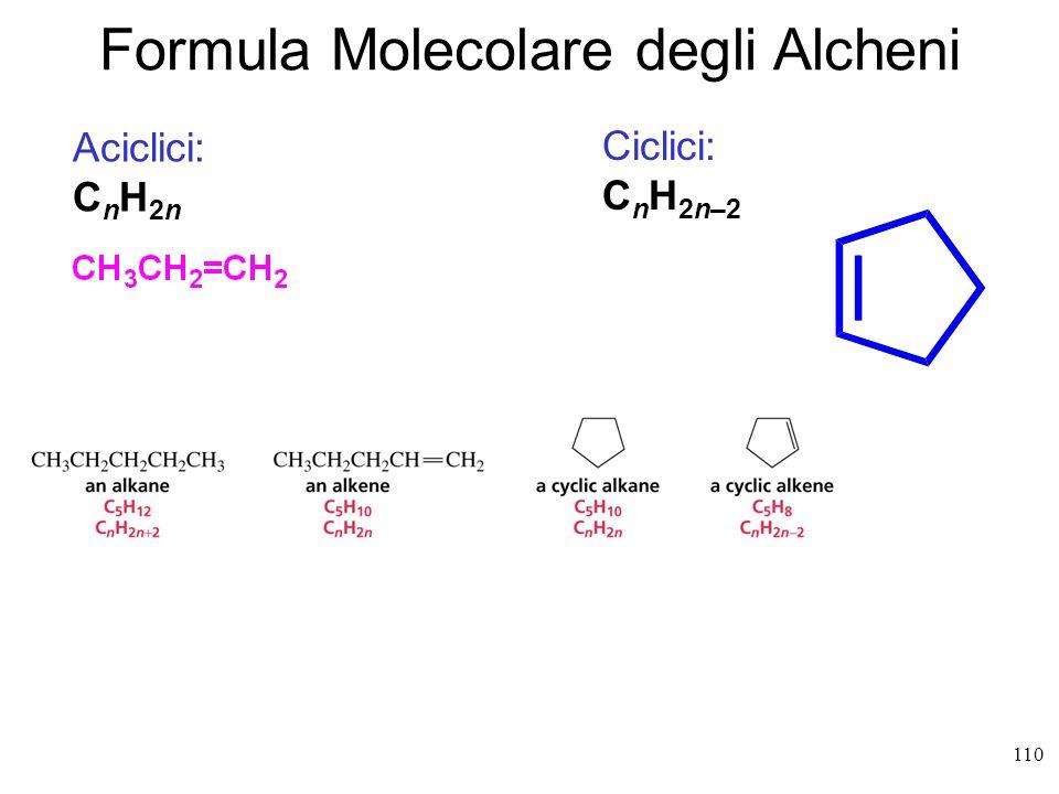 Emilio Tagliavini Chimica Organica TeCoRe - 2007/08 110 Aciclici: C n H 2n Ciclici: C n H 2n–2 Formula Molecolare degli Alcheni