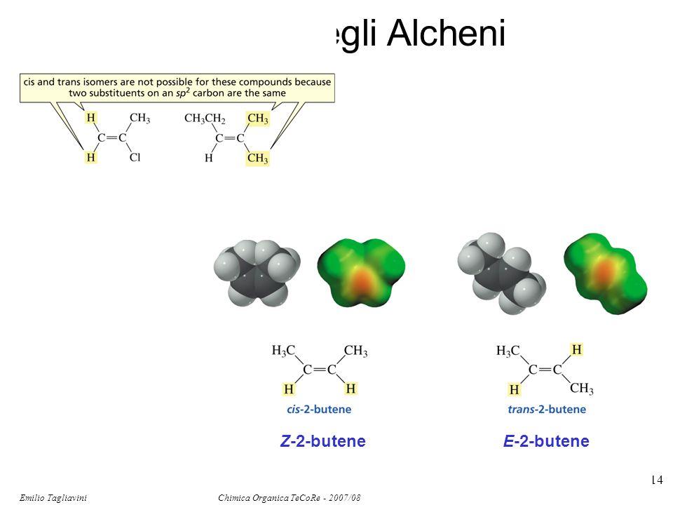 Emilio Tagliavini Chimica Organica TeCoRe - 2007/08 114 Isomeri degli Alcheni Z-2-buteneE-2-butene
