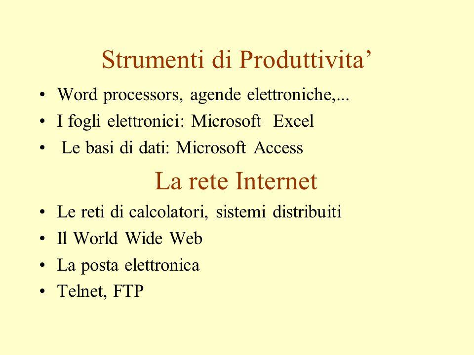 Strumenti di Produttivita' Word processors, agende elettroniche,... I fogli elettronici: Microsoft Excel Le basi di dati: Microsoft Access La rete Int