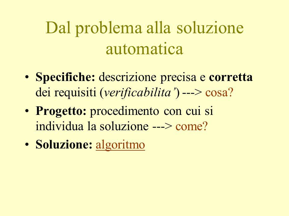 Dal problema alla soluzione automatica Specifiche: descrizione precisa e corretta dei requisiti (verificabilita') ---> cosa.