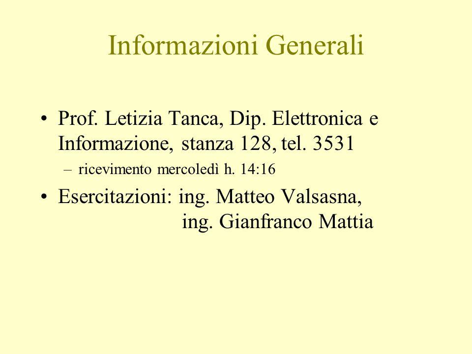 Informazioni Generali Prof. Letizia Tanca, Dip. Elettronica e Informazione, stanza 128, tel.