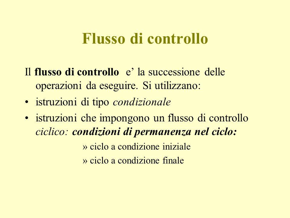 Flusso di controllo Il flusso di controllo e' la successione delle operazioni da eseguire.