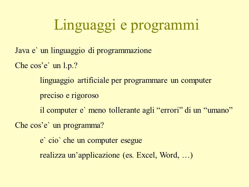 Linguaggi e programmi Java e` un linguaggio di programmazione Che cos'e` un l.p..