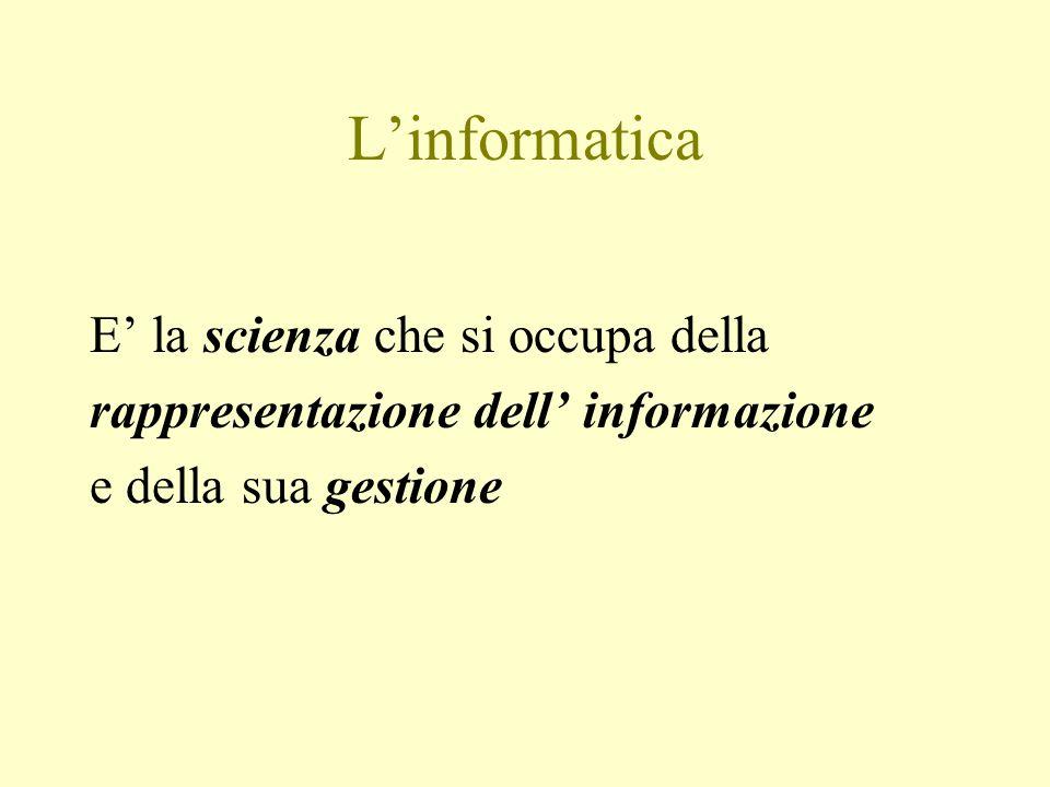 L'informatica E' la scienza che si occupa della rappresentazione dell' informazione e della sua gestione