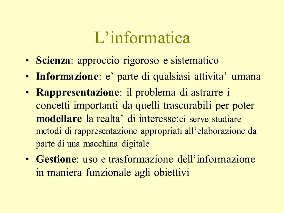 L'informatica Scienza: approccio rigoroso e sistematico Informazione: e' parte di qualsiasi attivita' umana Rappresentazione: il problema di astrarre i concetti importanti da quelli trascurabili per poter modellare la realta' di interesse: ci serve studiare metodi di rappresentazione appropriati all'elaborazione da parte di una macchina digitale Gestione: uso e trasformazione dell'informazione in maniera funzionale agli obiettivi