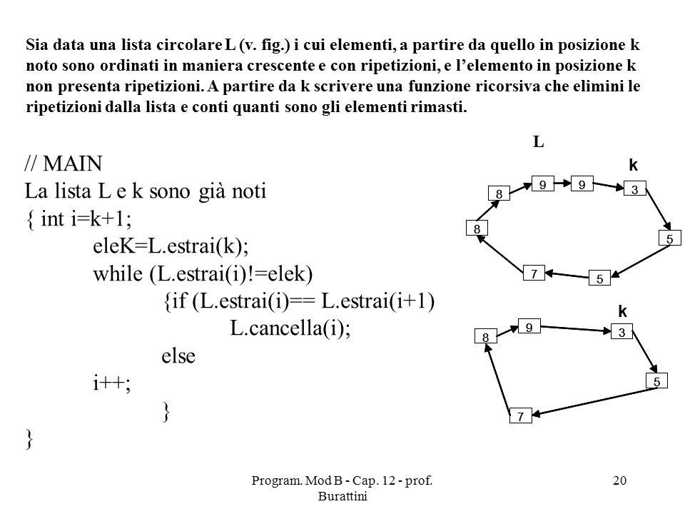 Program. Mod B - Cap. 12 - prof. Burattini 20 Sia data una lista circolare L (v.