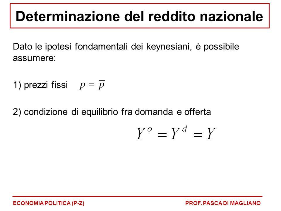 Determinazione del reddito nazionale Dato le ipotesi fondamentali dei keynesiani, è possibile assumere: 1) prezzi fissi 2) condizione di equilibrio fra domanda e offerta ECONOMIA POLITICA (P-Z)PROF.