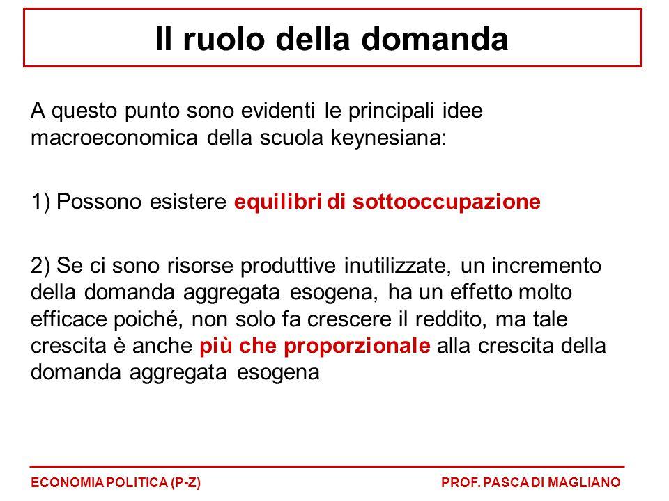 Il ruolo della domanda A questo punto sono evidenti le principali idee macroeconomica della scuola keynesiana: 1) Possono esistere equilibri di sottooccupazione 2) Se ci sono risorse produttive inutilizzate, un incremento della domanda aggregata esogena, ha un effetto molto efficace poiché, non solo fa crescere il reddito, ma tale crescita è anche più che proporzionale alla crescita della domanda aggregata esogena ECONOMIA POLITICA (P-Z)PROF.