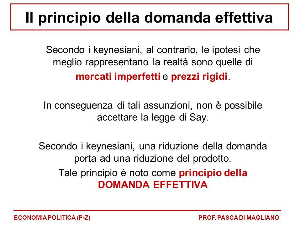 Il principio della domanda effettiva Secondo i keynesiani, al contrario, le ipotesi che meglio rappresentano la realtà sono quelle di mercati imperfetti e prezzi rigidi.