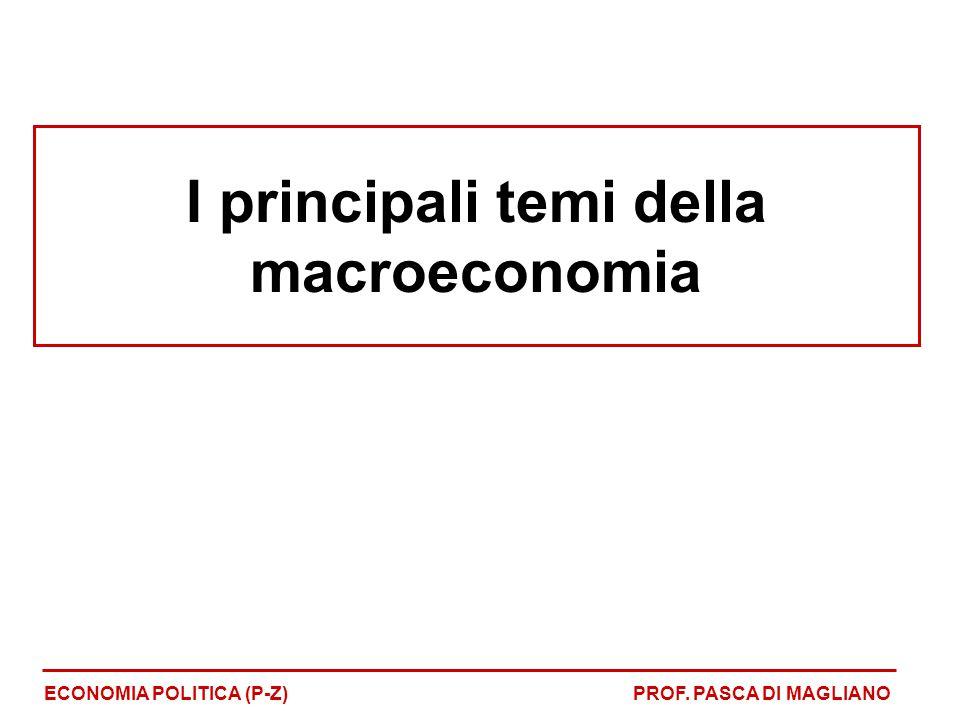 I principali temi della macroeconomia ECONOMIA POLITICA (P-Z)PROF. PASCA DI MAGLIANO
