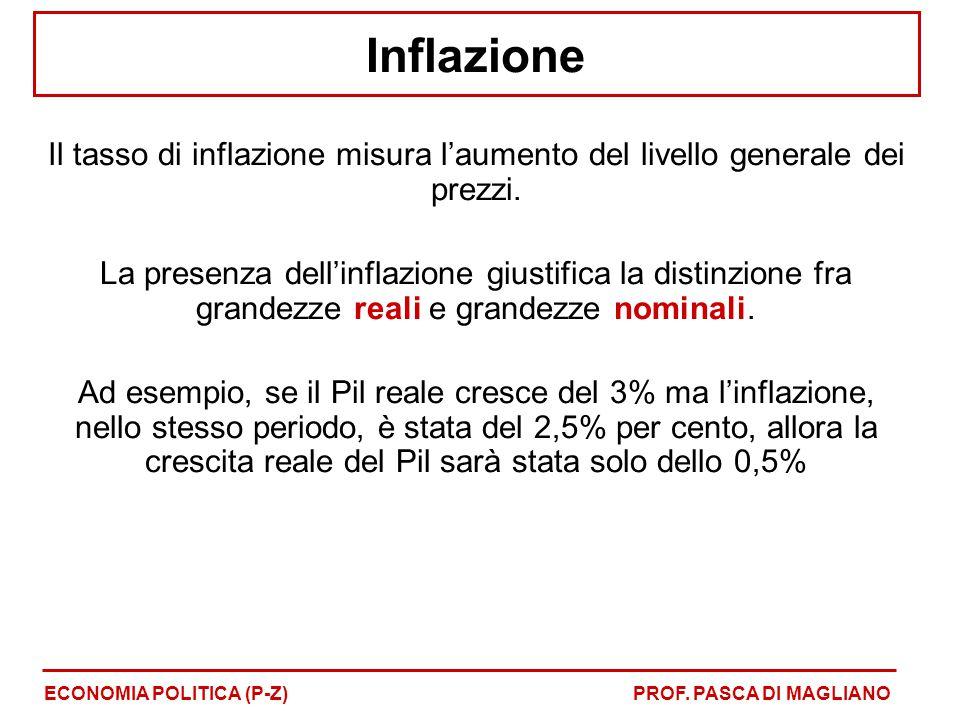 Inflazione Il tasso di inflazione misura l'aumento del livello generale dei prezzi. La presenza dell'inflazione giustifica la distinzione fra grandezz