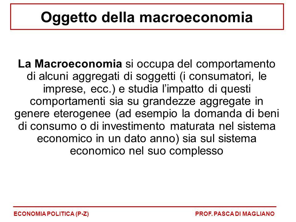 Oggetto della macroeconomia La Macroeconomia si occupa del comportamento di alcuni aggregati di soggetti (i consumatori, le imprese, ecc.) e studia l'impatto di questi comportamenti sia su grandezze aggregate in genere eterogenee (ad esempio la domanda di beni di consumo o di investimento maturata nel sistema economico in un dato anno) sia sul sistema economico nel suo complesso ECONOMIA POLITICA (P-Z)PROF.