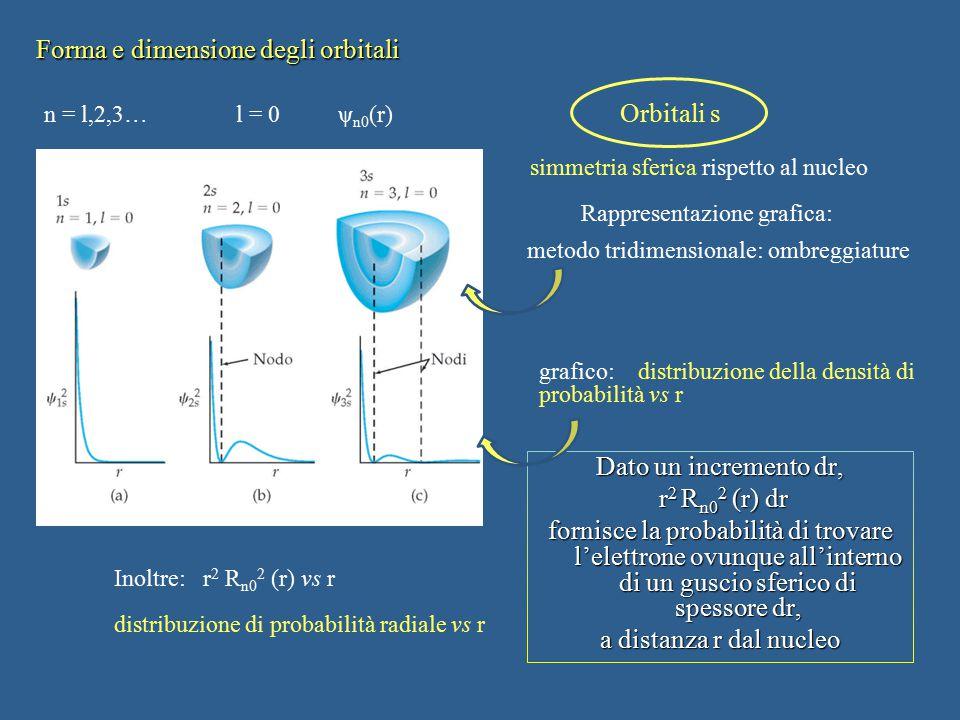 Forma e dimensione degli orbitali Dato un incremento dr, r 2 R n0 2 (r) dr r 2 R n0 2 (r) dr fornisce la probabilità di trovare l'elettrone ovunque al
