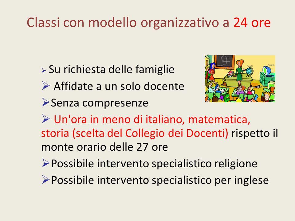 Classi con modello organizzativo a 24 ore  Su richiesta delle famiglie  Affidate a un solo docente  Senza compresenze  Un'ora in meno di italiano,