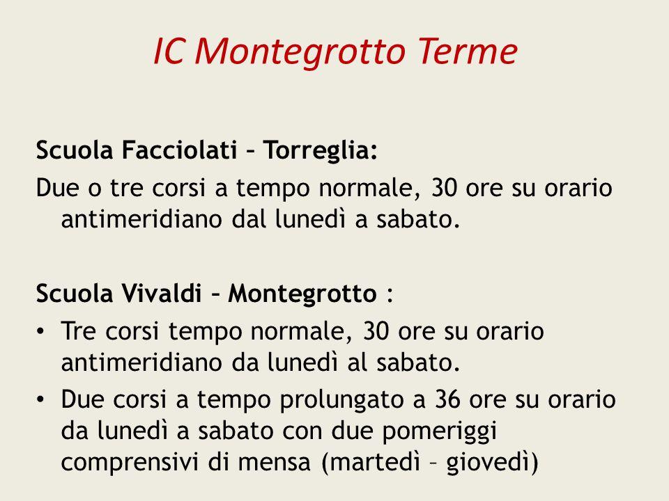 IC Montegrotto Terme Scuola Facciolati – Torreglia: Due o tre corsi a tempo normale, 30 ore su orario antimeridiano dal lunedì a sabato. Scuola Vivald