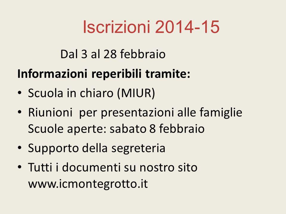 Iscrizioni 2014-15 Dal 3 al 28 febbraio Informazioni reperibili tramite: Scuola in chiaro (MIUR) Riunioni per presentazioni alle famiglie Scuole apert