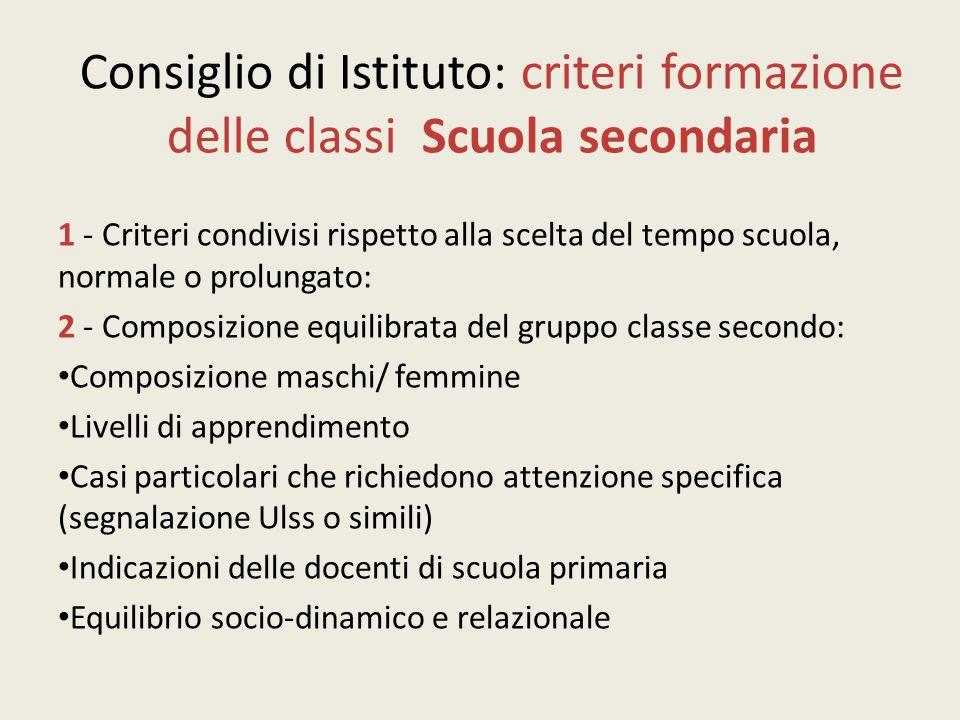 Consiglio di Istituto: criteri formazione delle classi Scuola secondaria 1 - Criteri condivisi rispetto alla scelta del tempo scuola, normale o prolun