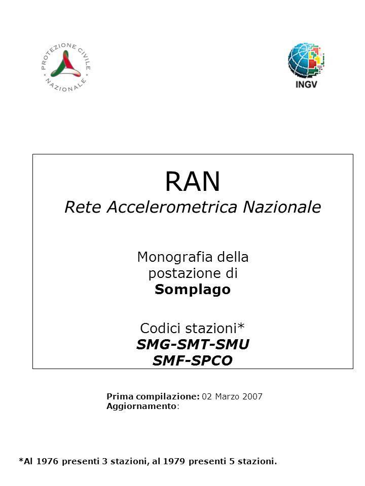 RAN Rete Accelerometrica Nazionale Monografia della postazione di Somplago Codici stazioni* SMG-SMT-SMU SMF-SPCO Prima compilazione: 02 Marzo 2007 Aggiornamento: *Al 1976 presenti 3 stazioni, al 1979 presenti 5 stazioni.
