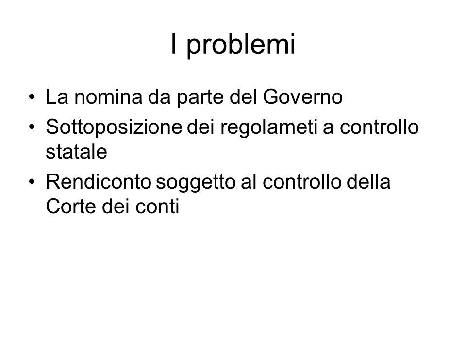 I problemi La nomina da parte del Governo Sottoposizione dei regolameti a controllo statale Rendiconto soggetto al controllo della Corte dei conti