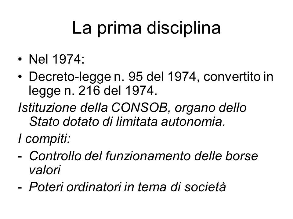 La prima disciplina Nel 1974: Decreto-legge n. 95 del 1974, convertito in legge n.