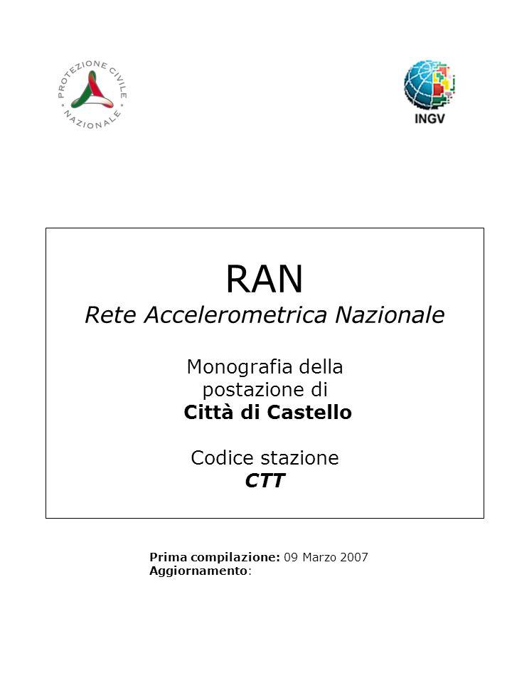 RAN Rete Accelerometrica Nazionale Monografia della postazione di Città di Castello Codice stazione CTT Prima compilazione: 09 Marzo 2007 Aggiornamento: Logo RAN