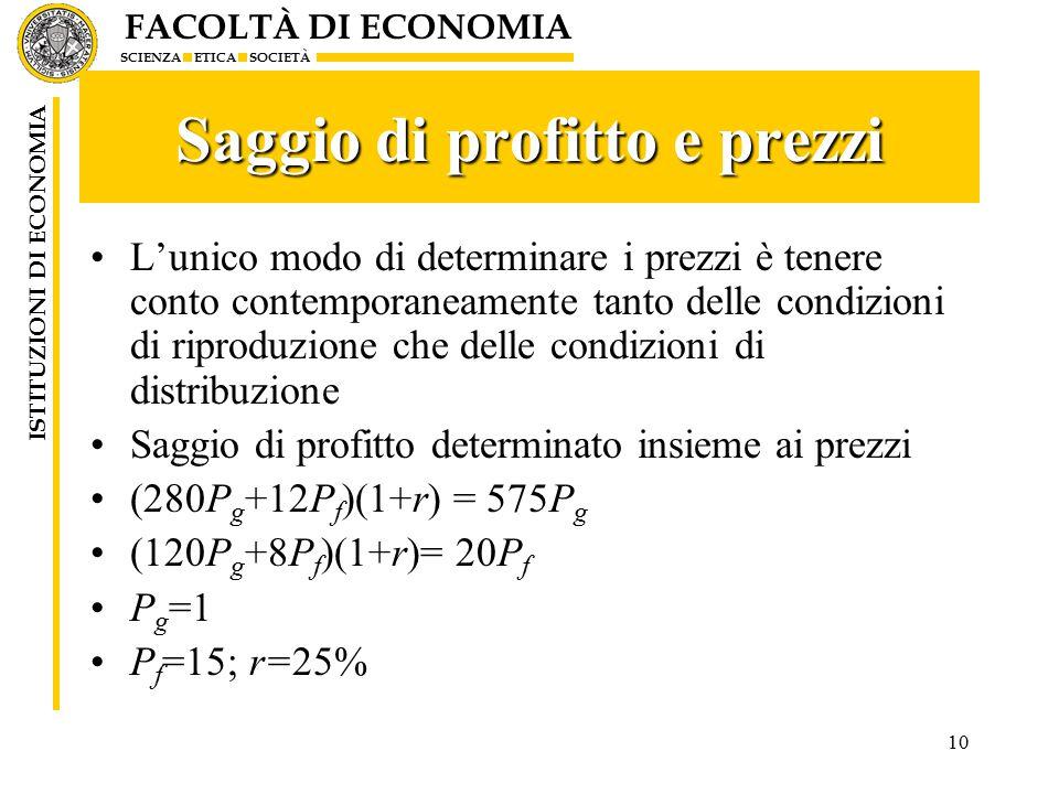 FACOLTÀ DI ECONOMIA SCIENZA ETICA SOCIETÀ ISTITUZIONI DI ECONOMIA 10 Saggio di profitto e prezzi L'unico modo di determinare i prezzi è tenere conto contemporaneamente tanto delle condizioni di riproduzione che delle condizioni di distribuzione Saggio di profitto determinato insieme ai prezzi (280P g +12P f )(1+r) = 575P g (120P g +8P f )(1+r)= 20P f P g =1 P f =15; r=25%
