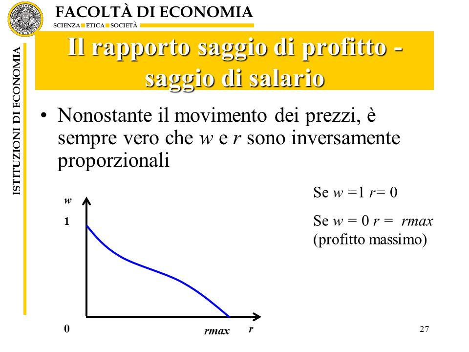 FACOLTÀ DI ECONOMIA SCIENZA ETICA SOCIETÀ ISTITUZIONI DI ECONOMIA 27 Il rapporto saggio di profitto - saggio di salario Nonostante il movimento dei prezzi, è sempre vero che w e r sono inversamente proporzionali Se w =1 r= 0 Se w = 0 r = rmax (profitto massimo) r w 1 0 rmax