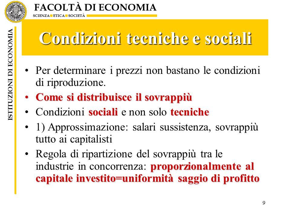 FACOLTÀ DI ECONOMIA SCIENZA ETICA SOCIETÀ ISTITUZIONI DI ECONOMIA 9 Condizioni tecniche e sociali Per determinare i prezzi non bastano le condizioni di riproduzione.