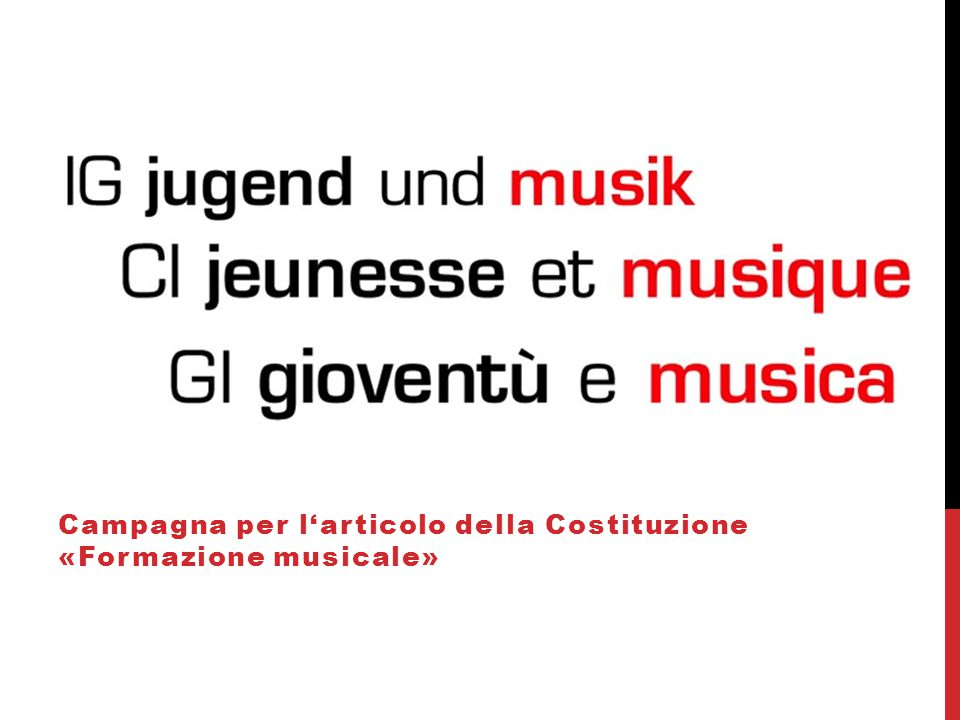 Campagna per l'articolo della Costituzione «Formazione musicale»