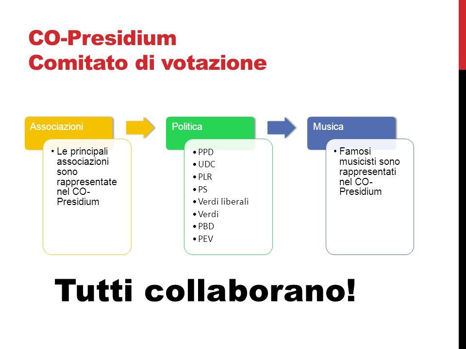 CO-Presidium Comitato di votazione Associazioni Le principali associazioni sono rappresentate nel CO- Presidium Politica PPD UDC PLR PS Verdi liberali