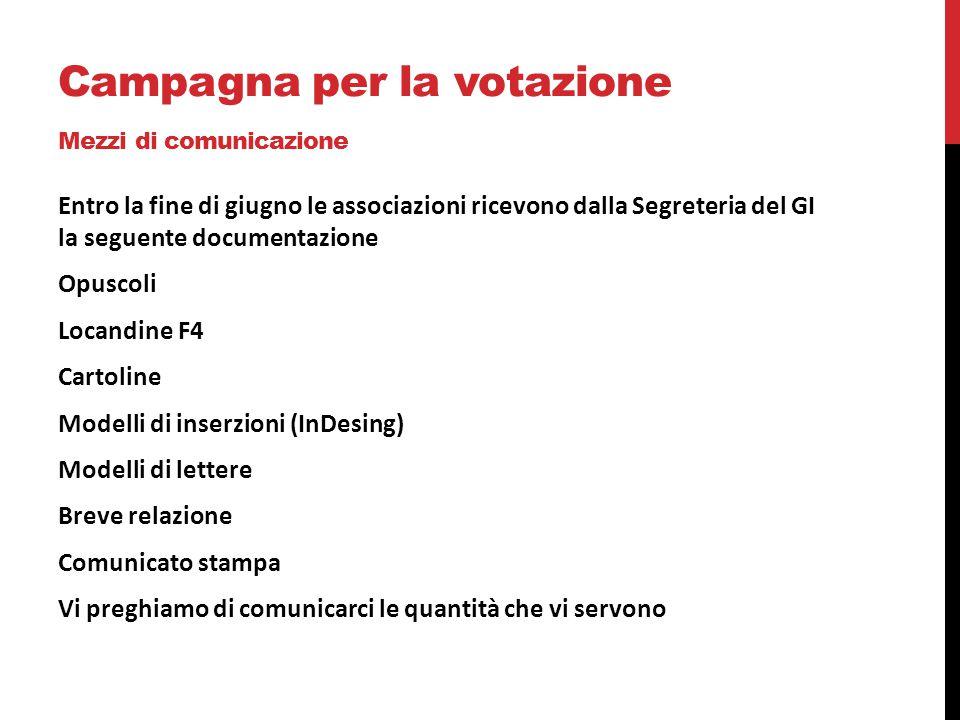 Campagna per la votazione Mezzi di comunicazione Entro la fine di giugno le associazioni ricevono dalla Segreteria del GI la seguente documentazione O