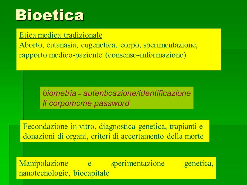 Bioetica Etica medica tradizionale Aborto, eutanasia, eugenetica, corpo, sperimentazione, rapporto medico-paziente (consenso-informazione) Fecondazion