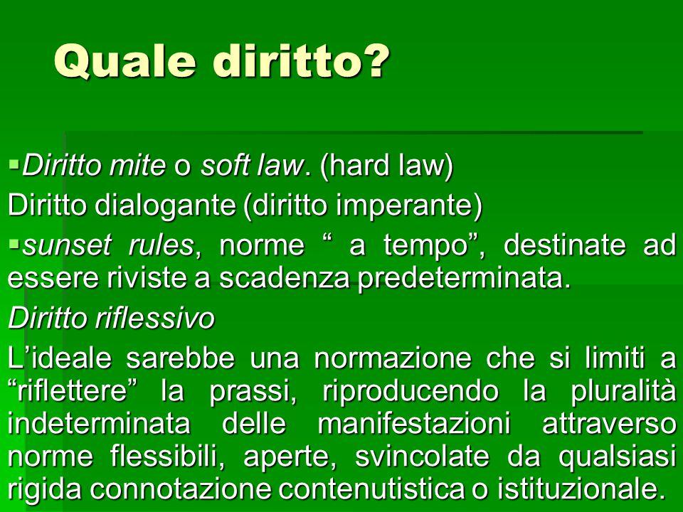 """Quale diritto?  Diritto mite o soft law. (hard law) Diritto dialogante (diritto imperante)  sunset rules, norme """" a tempo"""", destinate ad essere rivi"""