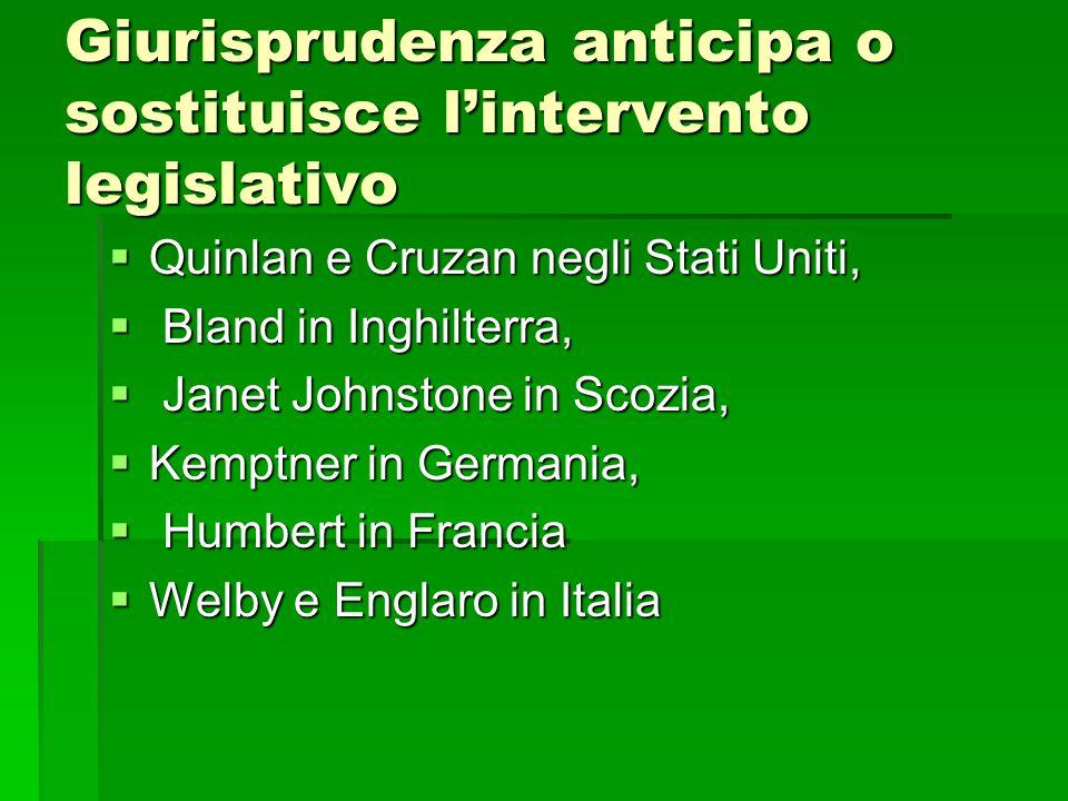 Giurisprudenza anticipa o sostituisce l'intervento legislativo  Quinlan e Cruzan negli Stati Uniti,  Bland in Inghilterra,  Janet Johnstone in Scoz