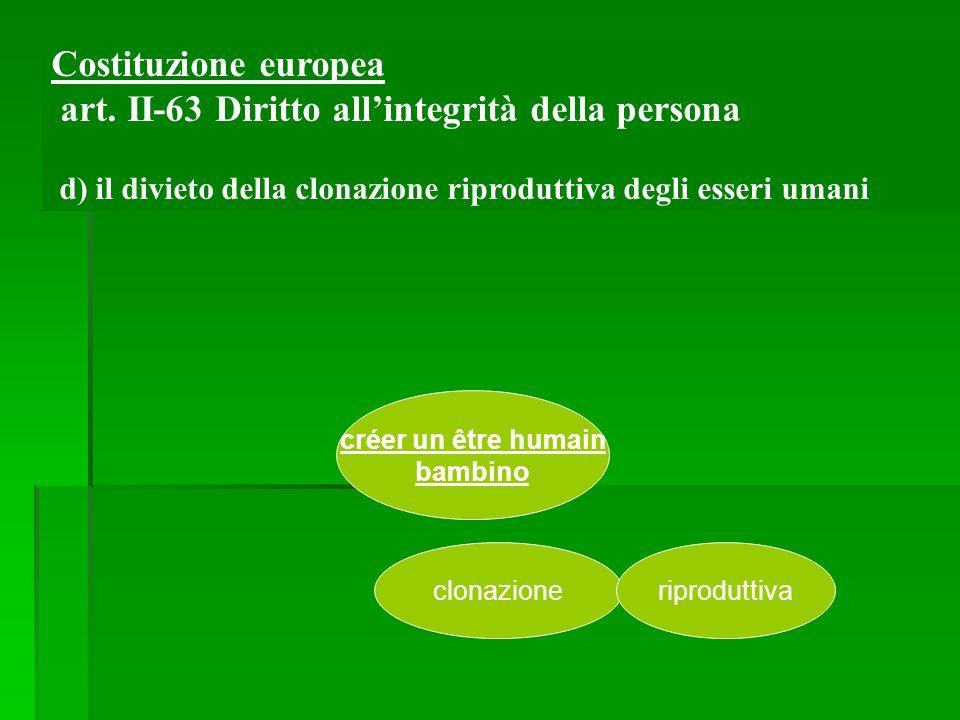 créer un être humain bambino clonazioneriproduttiva Costituzione europea art. II-63 Diritto all'integrità della persona d) il divieto della clonazione